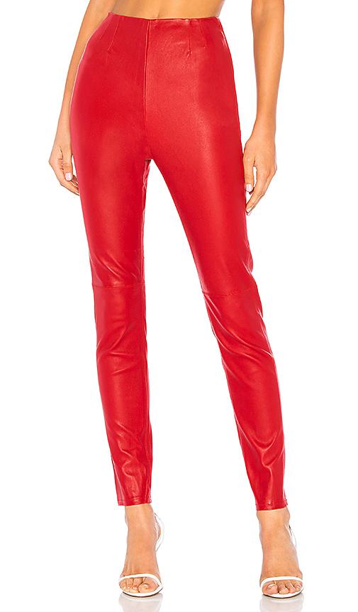 L'academie Pantalon En Cuir Angelica True Red