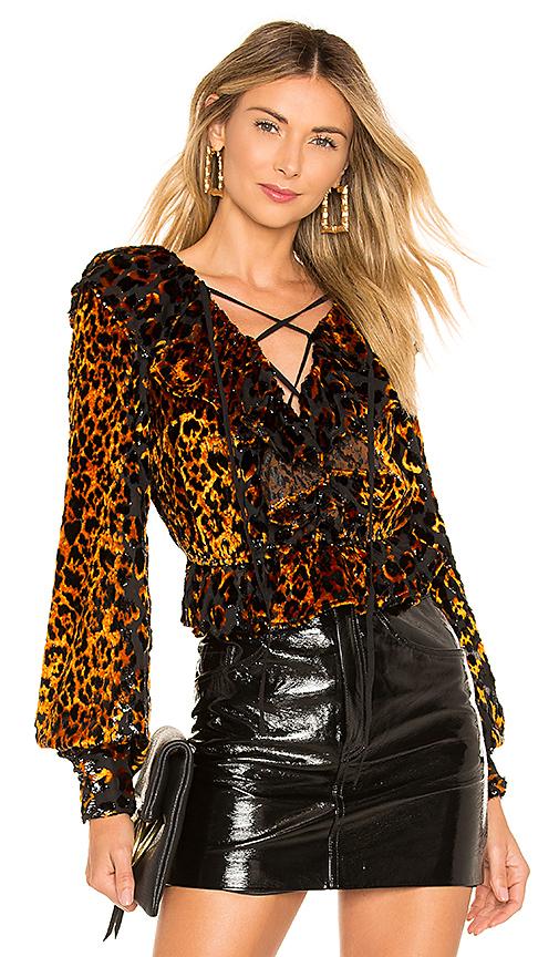 Nbd Top À Lacets Edie En Natural Leopard